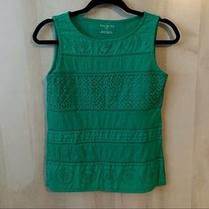 Talbots Petite Green Sleeveless Eyelet Top Size XS